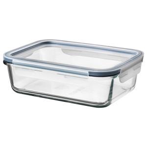 ИКЕА/365+ Контейнер для пищевых продуктов с крышкой, стеклянный прямоугольник, пластиковое стекло, 1.0 л