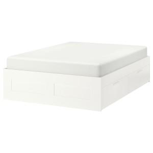 БРИМНЭС Кровать с ящиками, белый, Леирсунд, 160x200 см