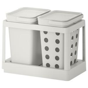 ХОЛЛБАР Решение для сортировки мусора, с выдвижным модулем вентилируемый, светло-серый, 20 л