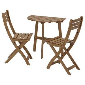 АСКХОЛЬМЕН Садовый стол и 2 раскладных кресла