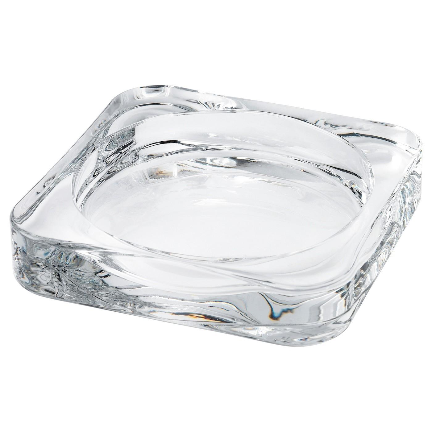 IKEA GLASIG тарелка для свечи прозрачное стекло 10x1.5 см 602.591.43
