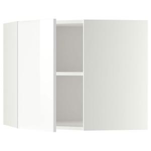 МЕТОД Угловой навесной шкаф с полками, белый, Рингульт белый, 68x60 см