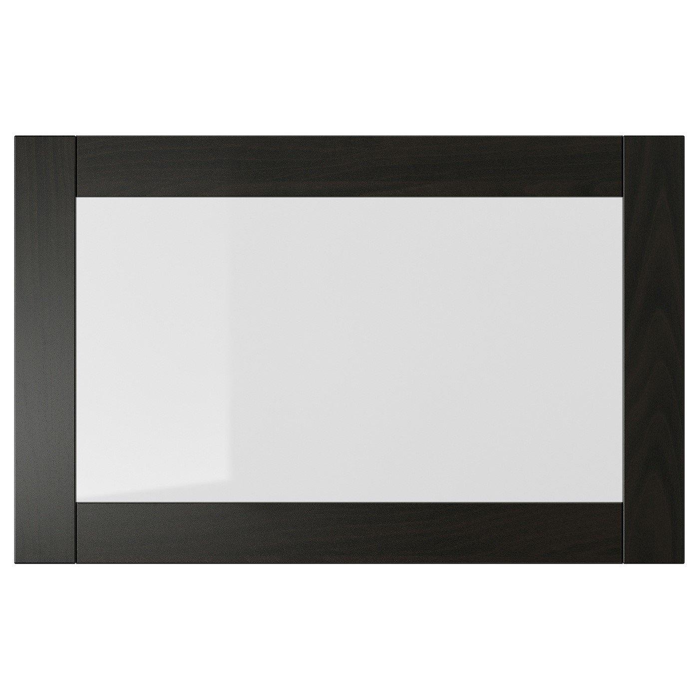 IKEA SINDVIK стеклянная дверь черно-коричневый/прозрачное стекло 60x38 см 40296311