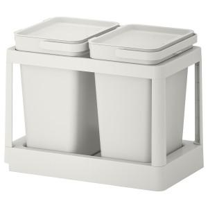 ХОЛЛБАР Решение для сортировки мусора, с выдвижным модулем, светло-серый, 20 л