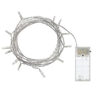 ЛЕДФИР Гирлянда, 12 светодиодов, для помещений, на батарейках серебристый