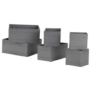 SKUBB СКУББ Набор коробок, 6 шт., темно-серый