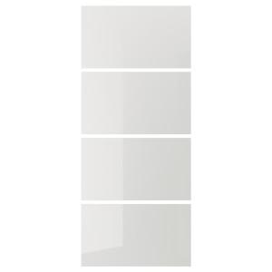 HOKKSUND 4 панели д/рамы раздвижной дверцы глянцевый светло-серый 100x236 см