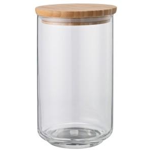 EKLATANT Банка с крышкой, прозрачное стекло, бамбук, 1.1 л