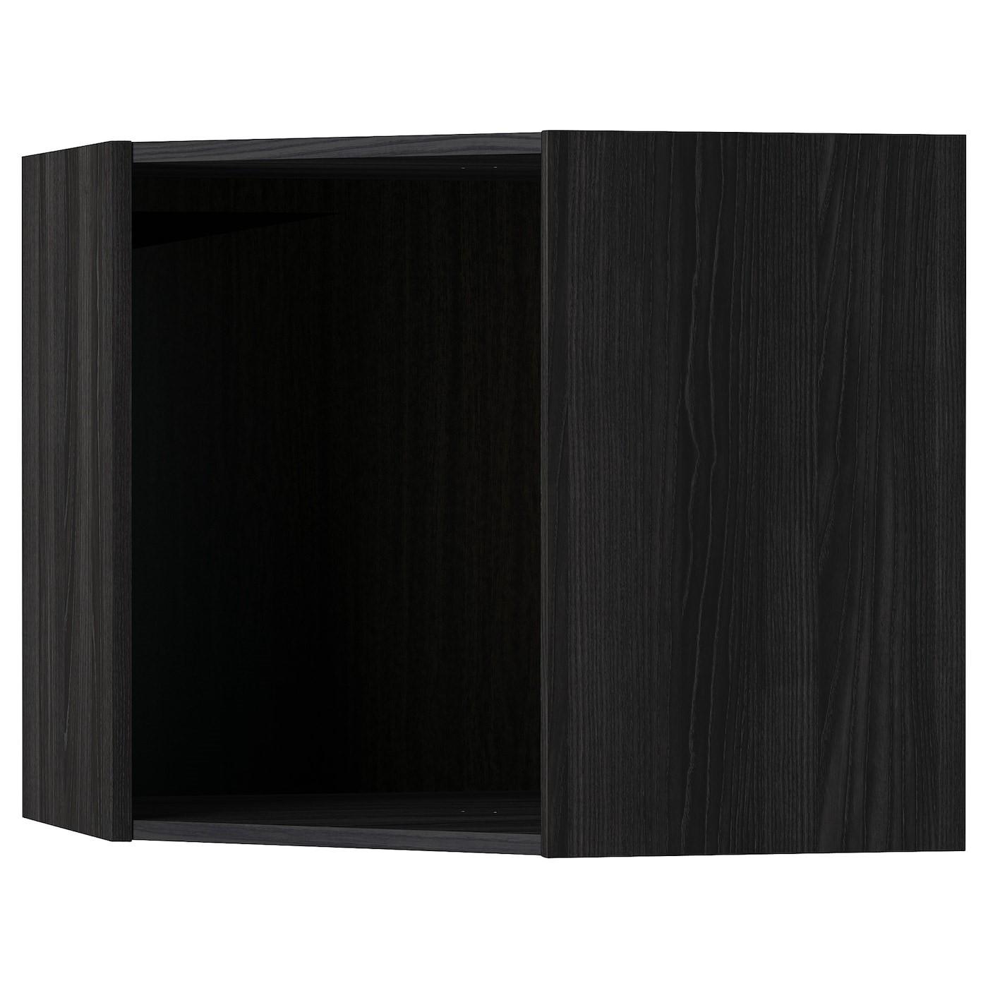 IKEA METOD каркас навесного углового шкафа под дерево черный 67.5x67.5x60 см 602.056.59