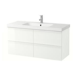 ГОДМОРГОН / ОДЕНСВИК Шкаф для раковины с 4 ящ, глянцевый белый, ДАЛЬШЕР смеситель, 123x49x64 см