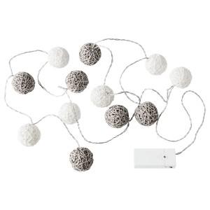 ЛИВСОР Гирлянда, 12 светодиодов, для помещений, с батарейным питанием, серо-белый