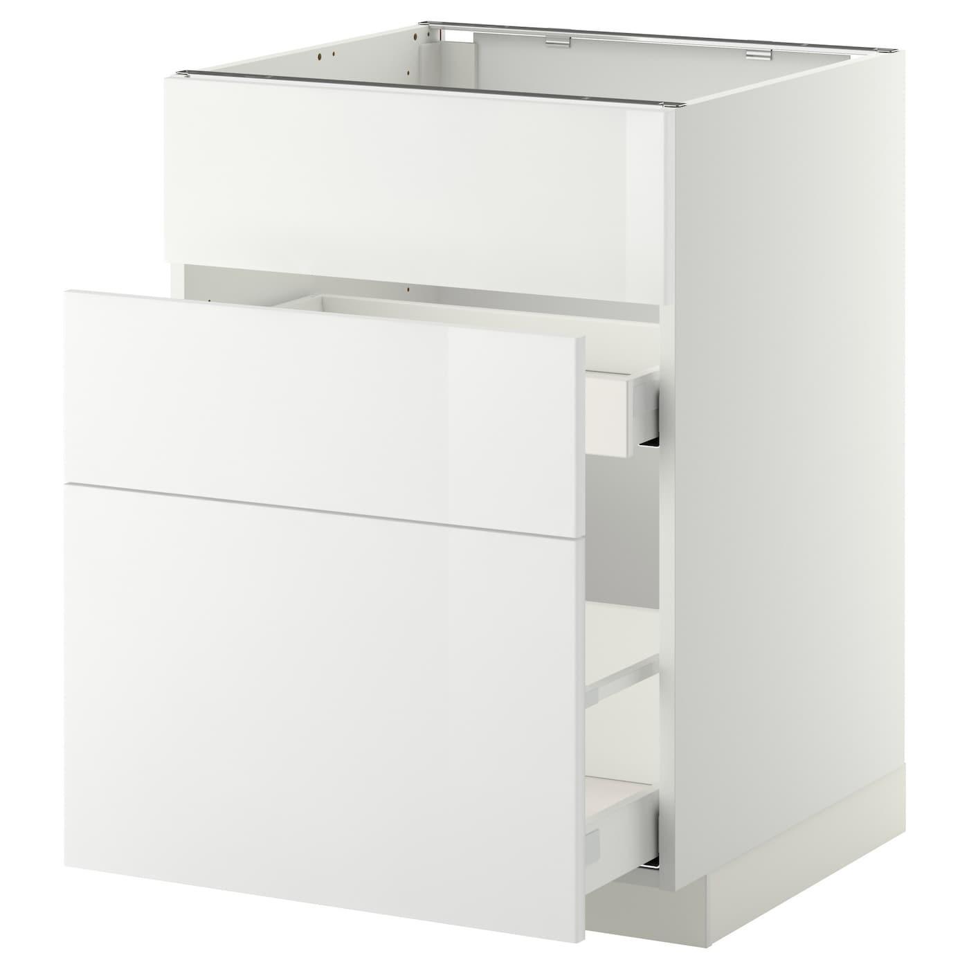 IKEA МЕТОД / МАКСИМЕРА Напольный шкаф д/встр духовки/мойки с 3 фасадами/ 2 ящиками, белый, Рингульт белый, 60x60 см 899.198.17