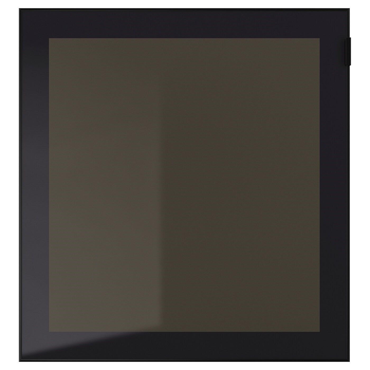 IKEA ГЛАСВИК Стеклянная дверь, черный, дымчатое стекло, 60x64 см 902.916.60