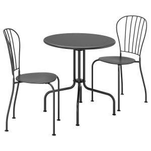 ЛЭККЭ Стол+2 стула, садовый, серый
