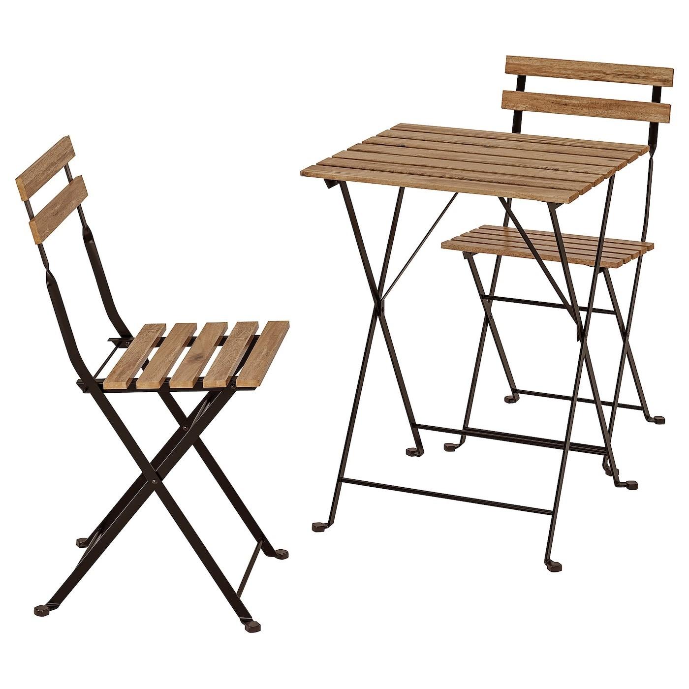 IKEA ТЭРНО Стол+2стула,д/сада, черный акация, сталь серо-коричневая морилка 698.984.15