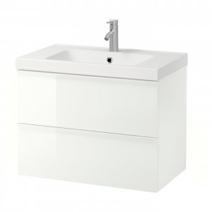 ГОДМОРГОН / ОДЕНСВИК Шкаф для раковины с 2 ящ, глянцевый белый, ДАЛЬШЕР смеситель, 83x49x64 см