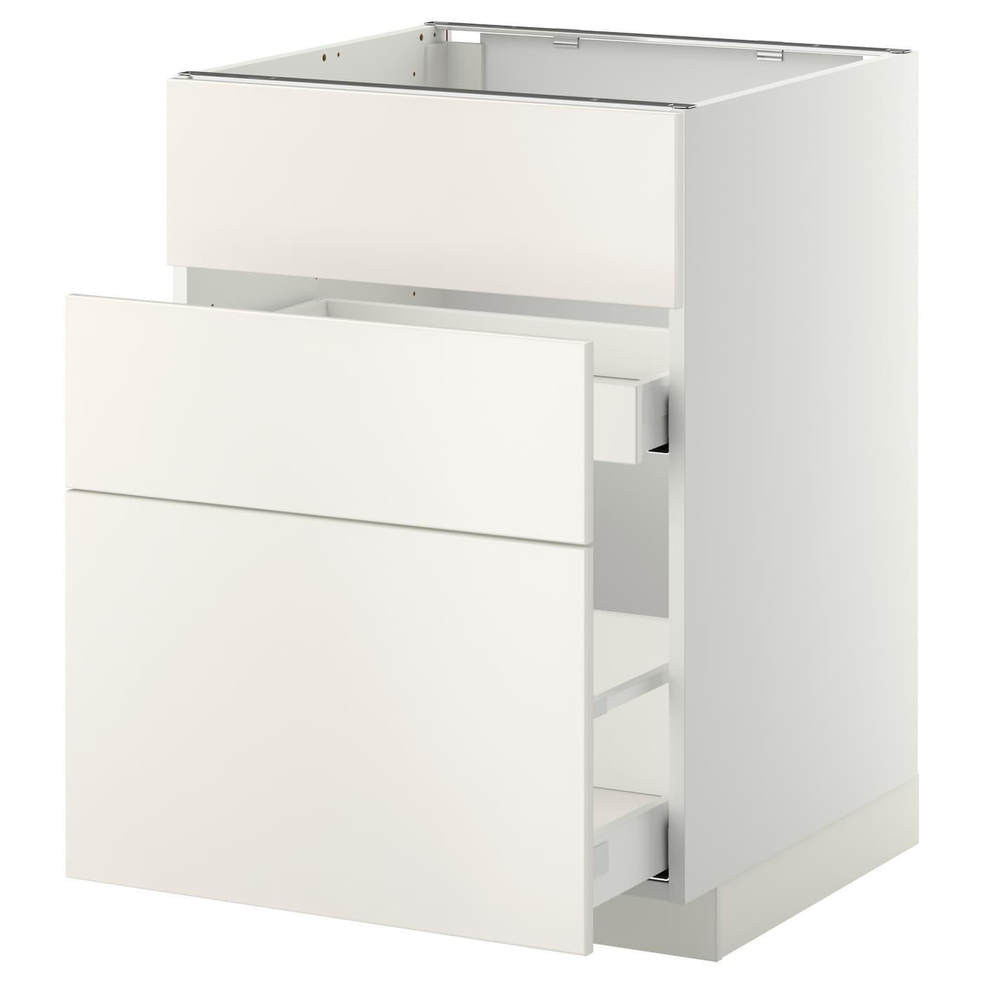 IKEA МЕТОД / МАКСИМЕРА Напольный шкаф д/встр духовки/мойки с 3 фасадами/ 2 ящиками, белый, Веддинге белый, 60x60 см 099.198.21