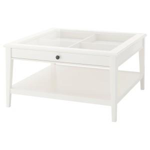 LIATORP журнальный стол белый/стекло 93x51 см