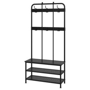 PINNIG Вешалка для одежды со скамейкой, черный, 193 см