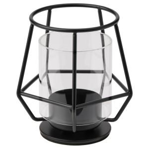 ПЭРЛЬБАНД Подсвечник для греющей свечи, черный, 10 см
