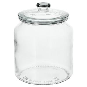 VARDAGEN банка с крышкой прозрачное стекло 18.4x Ø14.5 см