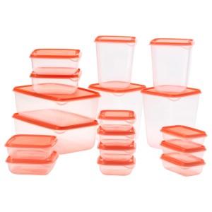 ПРУТА Набор контейнеров, 17 шт, прозрачный, оранжевый