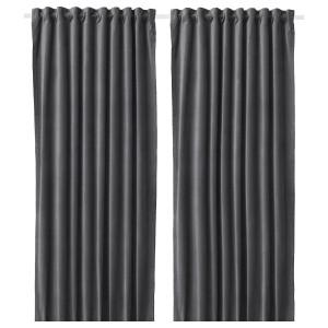 SANELA затемняющие гардины, 2 шт. темно-серый 140x300 см
