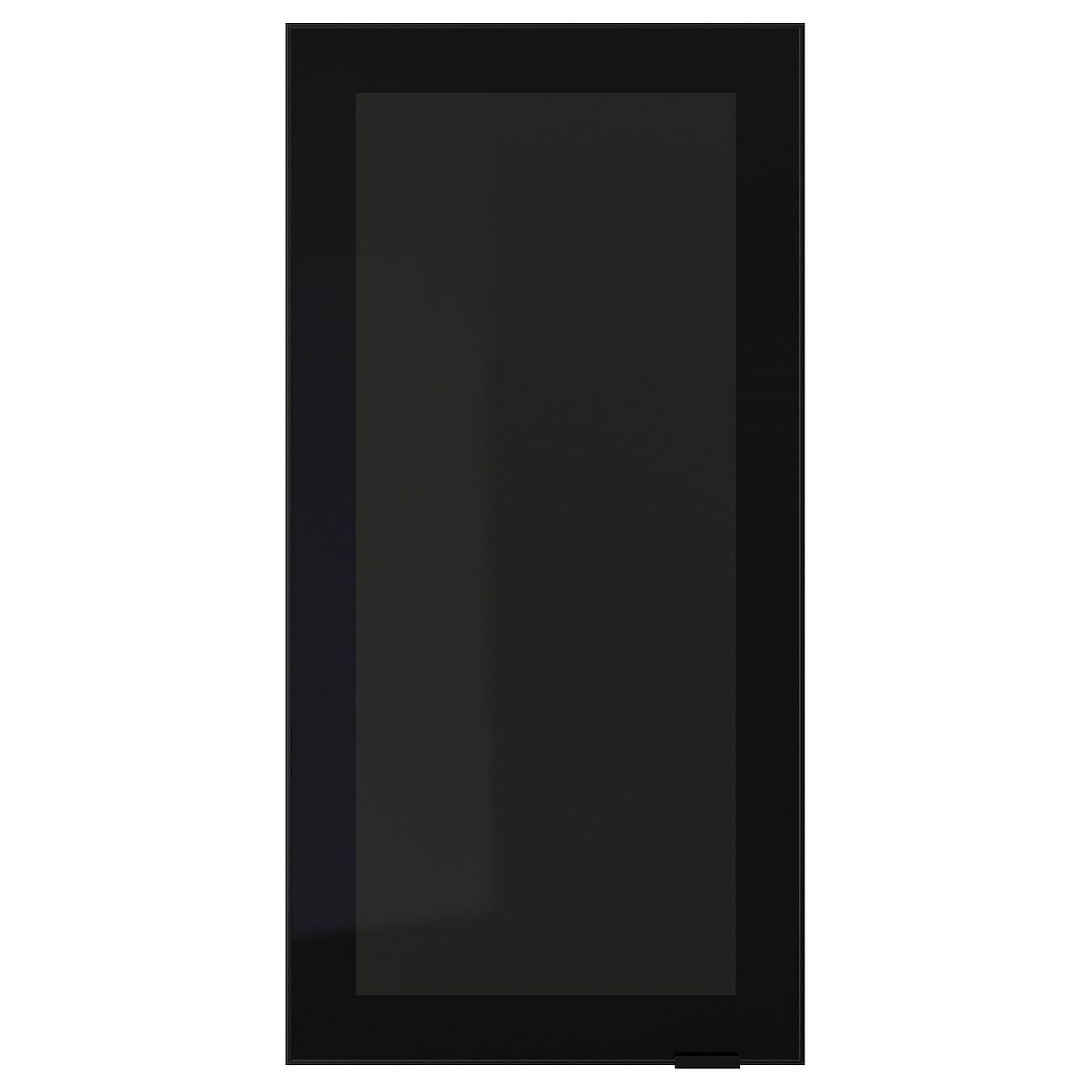IKEA JUTIS стеклянная дверь дымчатое стекло/черный 40x80 см 602.058.95