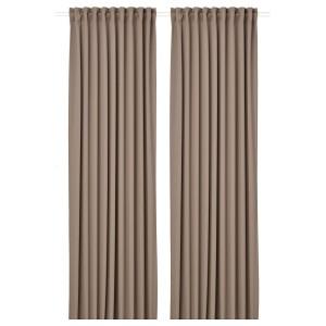 MAJGULL гардины, блокирующие свет, 2 шт. серый/коричневый 145x300 см