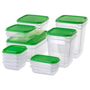 PRUTA набор контейнеров, 17 шт. прозрачный/зеленый прозрачный/зеленый