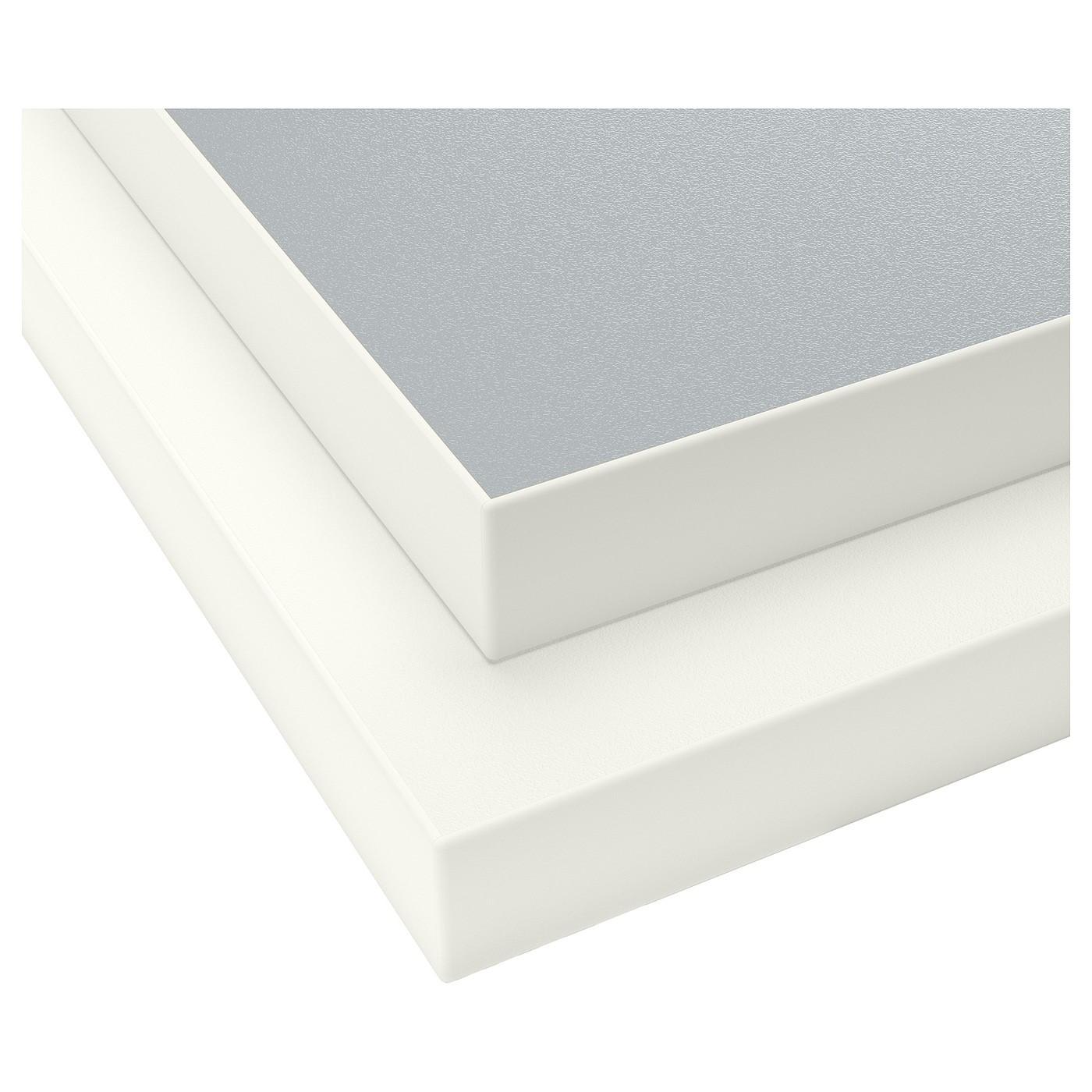 IKEA EKBACKEN столешница, двусторонняя с белой окантовкой светло-серый/белый/ламинат 63.5x186 см 402.913.42