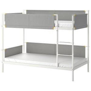 ВИТВАЛ Двухъярусная кровать, белый, светло-серый, 90x200 см