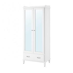 ТИСЕДАЛЬ Шкаф платяной, белый, зеркальное стекло, 88x58x208 см