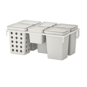 ХОЛЛБАР Решение для сортировки мусора, для кухонных ящиков МЕТОД вентилируемый, светло-серый, 53 л