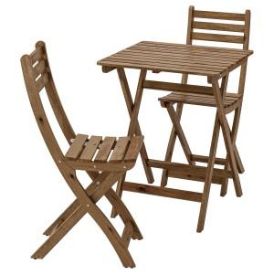 АСКХОЛЬМЕН Стол+2стула,д/сада, серый, коричневая морилка