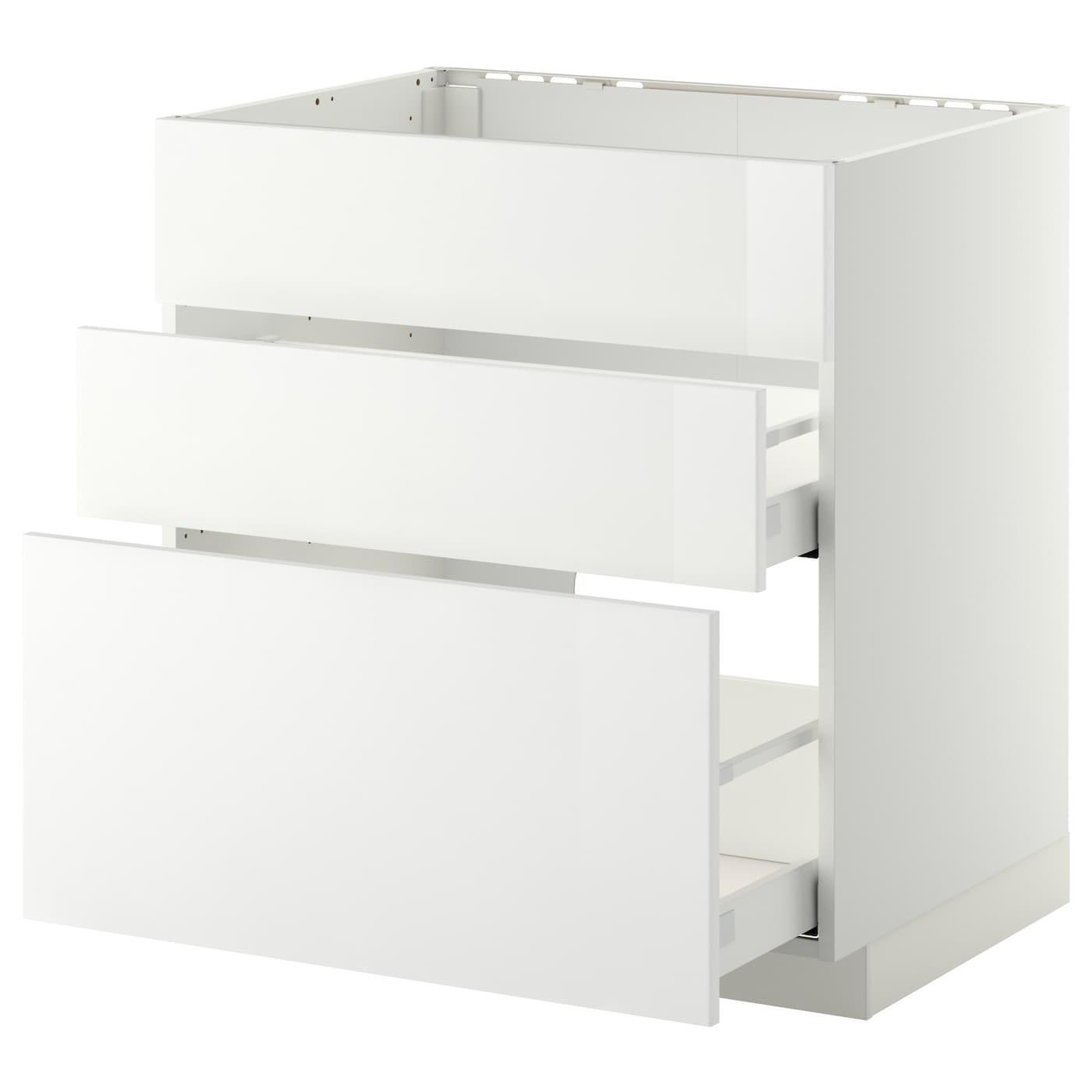 IKEA МЕТОД / МАКСИМЕРА Напольный шкаф д/встр духовки/мойки с 3 фасадами/ 2 ящиками, белый, Рингульт белый, 80x60 см 690.280.49