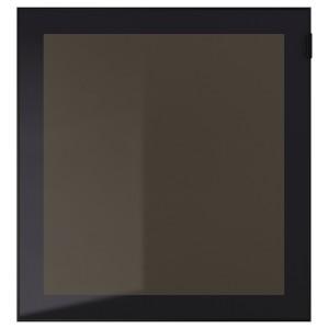 ГЛАСВИК Стеклянная дверь, черный, дымчатое стекло, 60x64 см