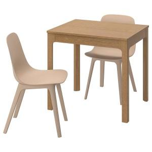 EKEDALEN / ODGER Стол и 2 стула, дуб, белый бежевый, 80/120 см
