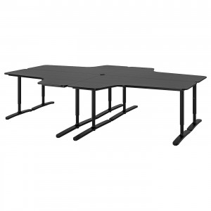 БЕКАНТ Стол, комбинация, ясеневый шпон/черная морилка, черный, 320x220 см