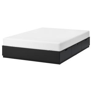 НОРДЛИ Кровать с ящиками, антрацит, 160x200 см