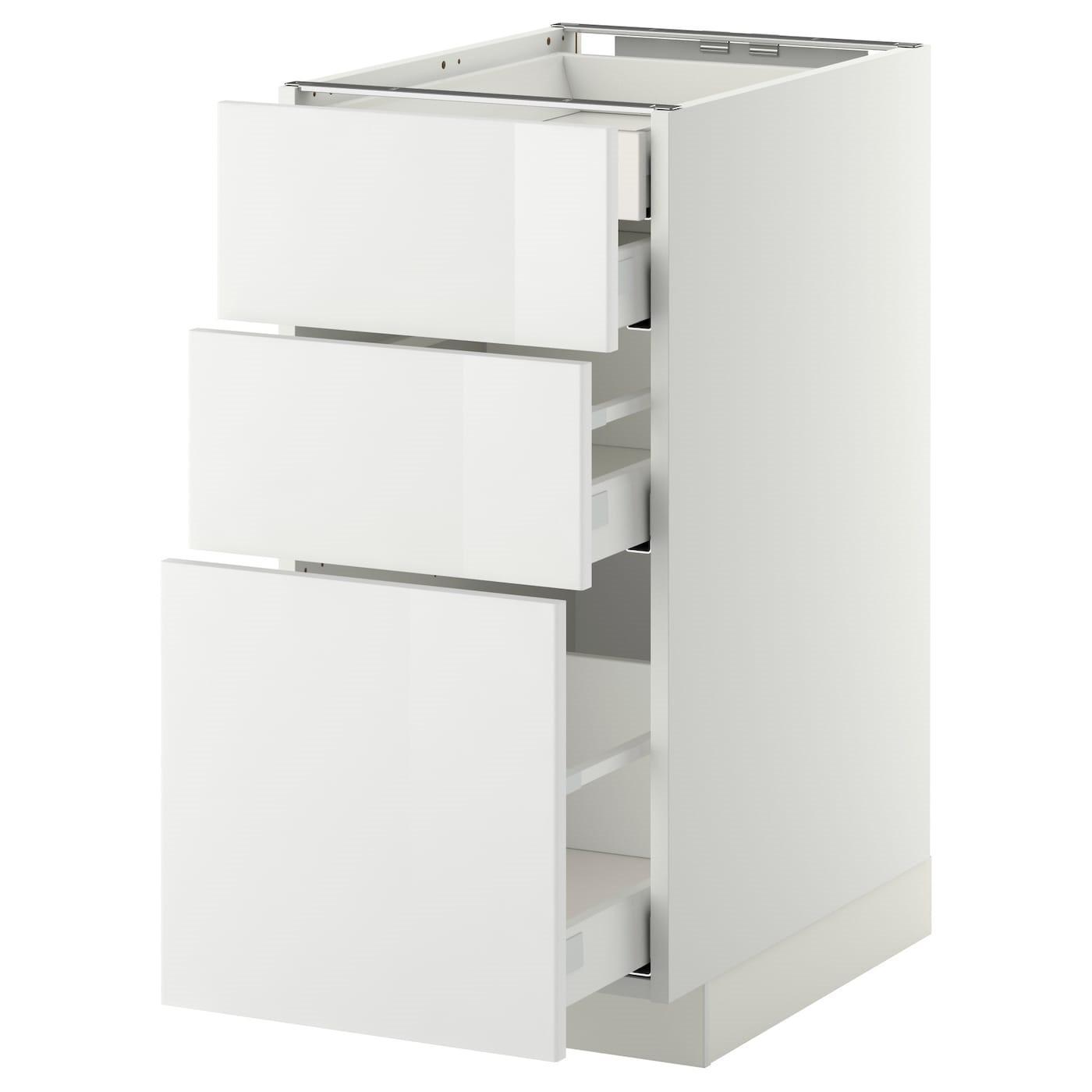 IKEA МЕТОД / МАКСИМЕРА Шкаф напольный, 3 фронт.панели/2низ/сред/выс. ящика, белый, Ringhult красный, 40x60 см 299.116.83