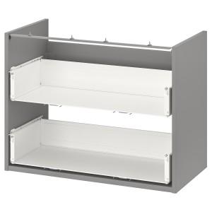 ENHET Шкафчик для умывальника с 2 ящиками, серый, 80x40x60 см