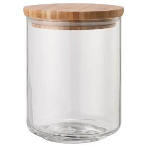 EKLATANT Банка с крышкой, прозрачное стекло, бамбук, 0.8 л