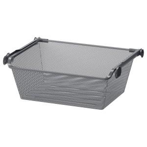 КОМПЛИМЕНТ Сетчатая корзина с направляющей скольжения, темно-серый, 50x35 см