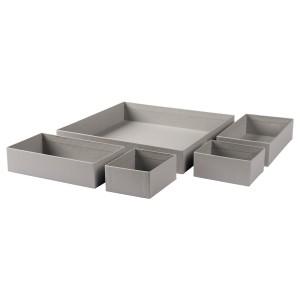 GRÅSIDAN Набор коробок, 5 шт, серый