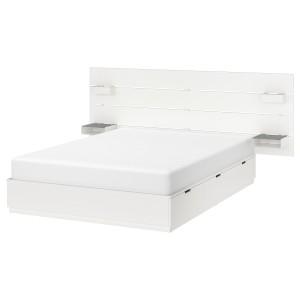 НОРДЛИ Кровать с изголовьем, белый, 140x200 см
