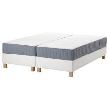 IKEA ESPEVÄR/VALEVÅG Континентальная кровать, белый, жесткий голубой, 180x200 см 293.898.73