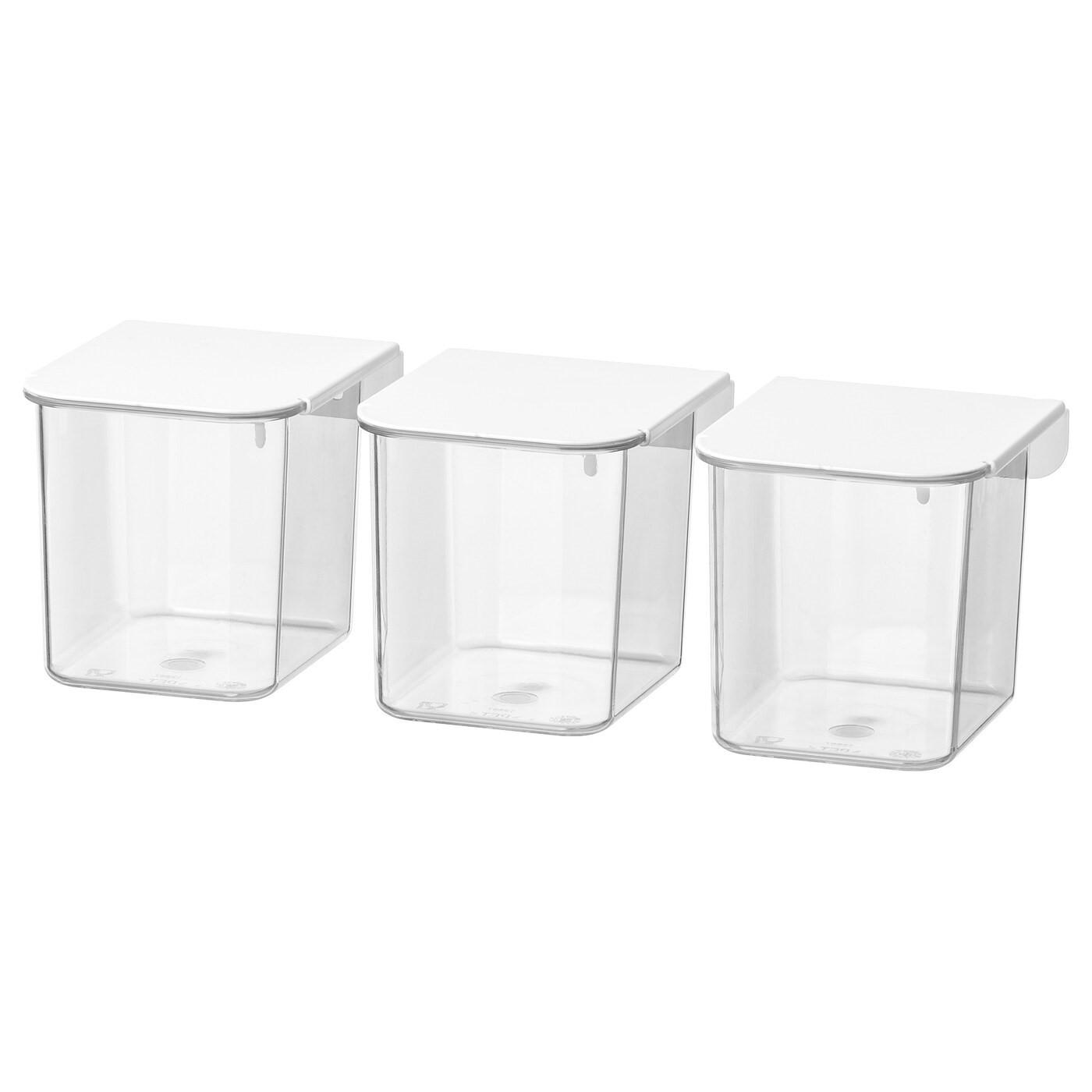 IKEA SKÅDIS контейнер с крышкой белый 7x8.5x8 см 803.359.09