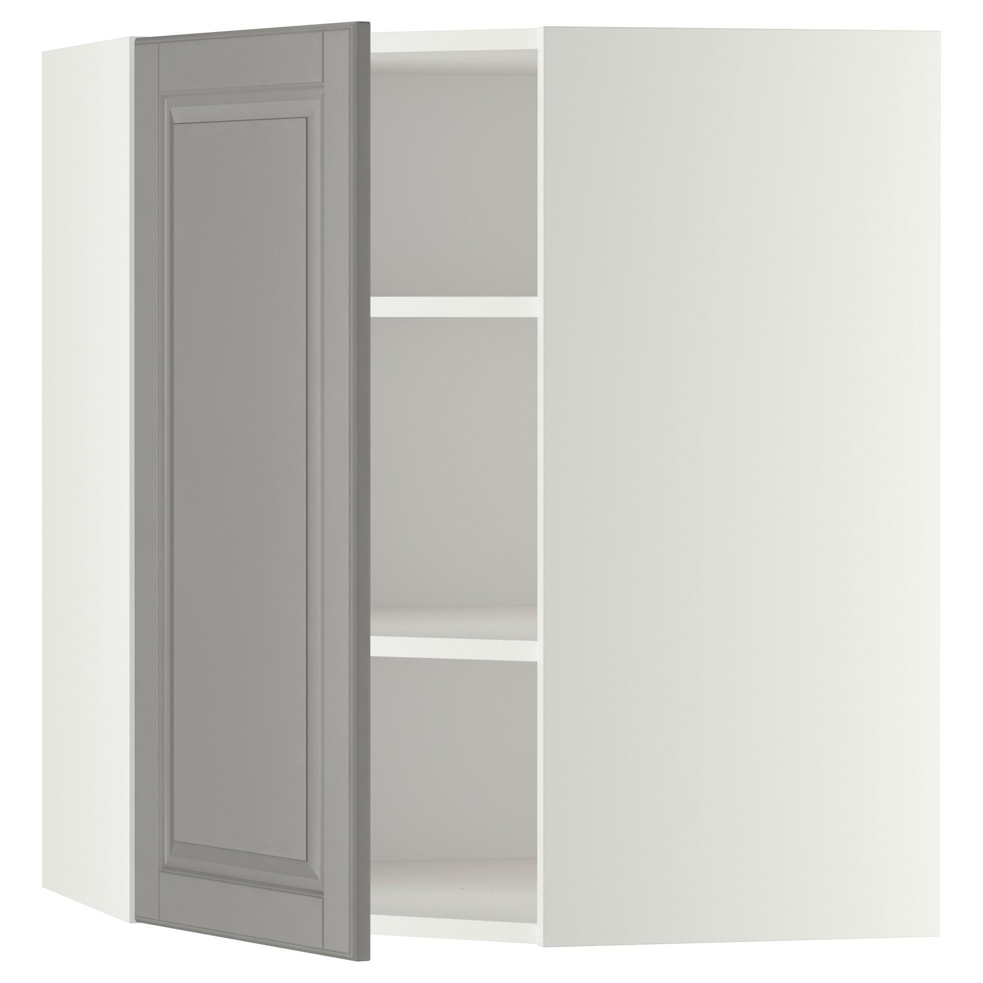 IKEA МЕТОД Угловой навесной шкаф с полками, белый, Будбин серый, 68x80 см 999.186.95