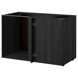 METOD каркас напольного шкафа углового под дерево черный 127.5x67.5x80 см